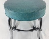 Vintage aqua chrome and vinyl stool turquoise seafoam green blue retro cosco