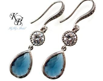 Sapphire Earrings, Sterling Silver Earrings, Something Blue Earrings, Wedding Jewelry, Wedding Earrings, Sapphire Jewelry, Something Blue
