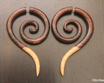Fake Gauge Earrings, Long Tail Spiral Wooden Earring w Multi Color Gradation, Sono Wood, Tribal Style, Handcarved