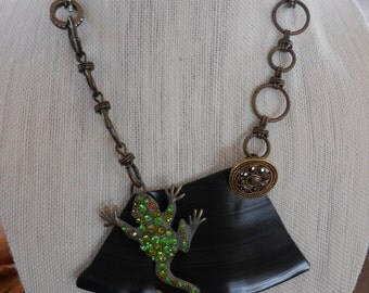 Rhinestone frog and upcycled vinyl record necklace