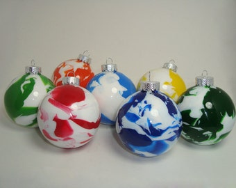 """6-Pack 1.25"""" Marbled Glass Ornaments"""