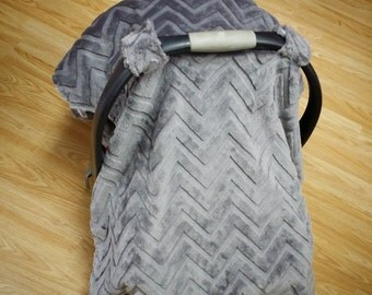 Grey Chevron, car seat canopy tent