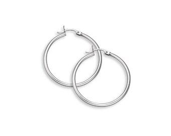 Plain Hoop Earrings Real 925 Sterling Silver