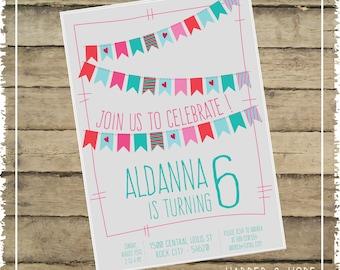 Printable - Pennants Girl 6th Birthday Invitations - Customizable