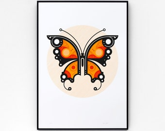 Butterfly #1 A2 limited edition screen print, hand-printed in 3 colours