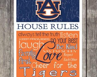 AUBURN TIGERS House Rules Art Print