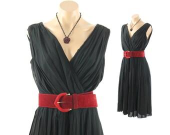 Vintage 50s 60s Party Dress Full Skirt Chiffon LBD Deep V Wrap Bodice Sleeveless 1950s 1960s Medium M