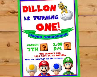 Super Mario Brothers Invitation, Birthday Party Invite, Super Mario Bros Invite, First Birthday Invite, Nintendo Birthday Party, Luigi, Toad