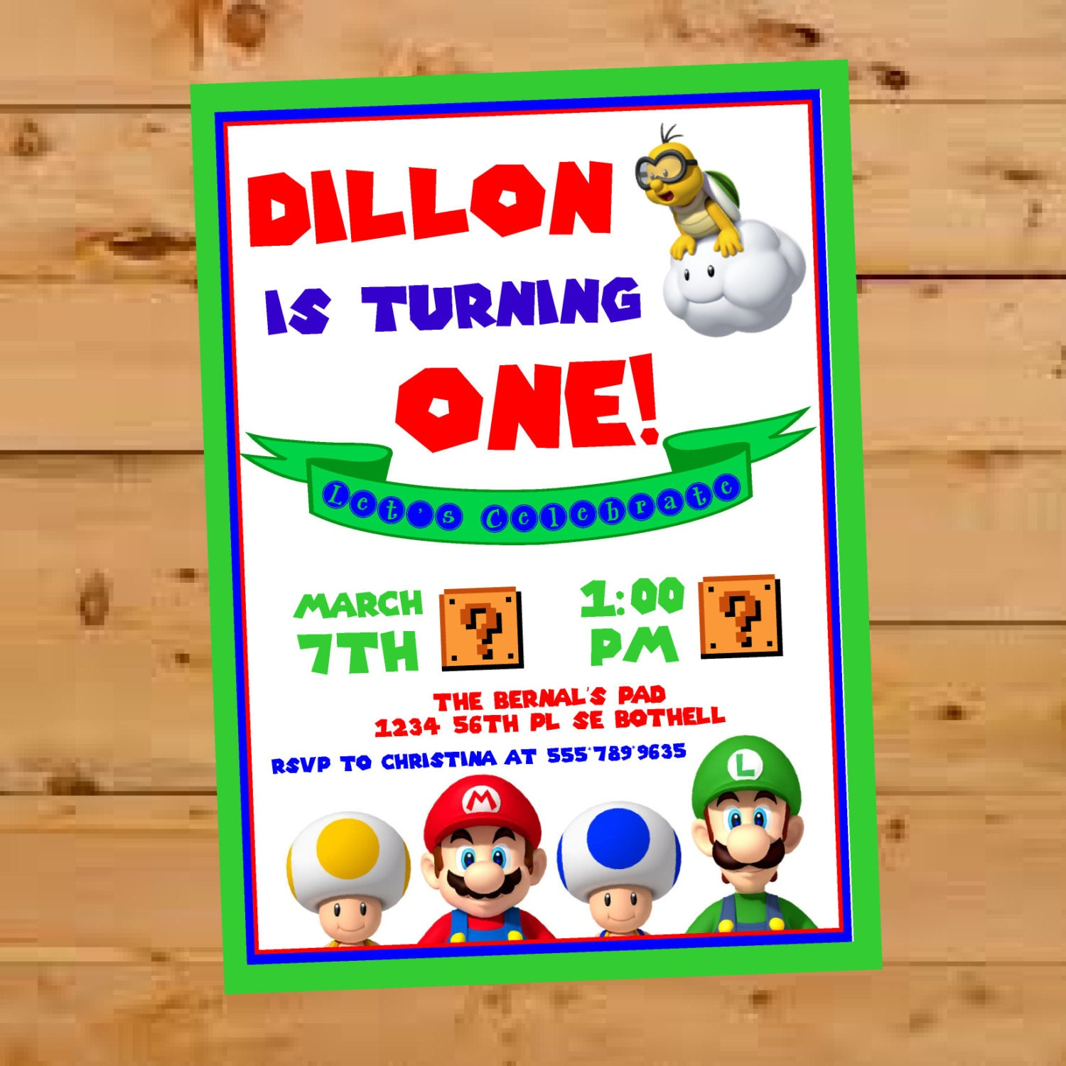 Super mario brothers invitation birthday party invite super zoom monicamarmolfo Gallery