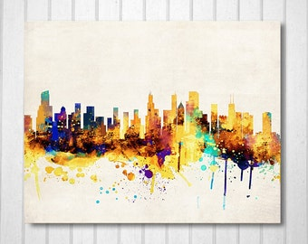 Chicago City Skyline,Digital Watercolor Art Print. Modern Home Decor,No,333