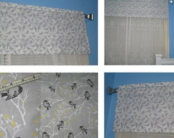 Handmade Black Gray Birds on  White  Window Curtain Valance