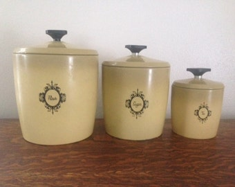 West Bend set of 3 1960s Canisters (Flour, Sugar, Tea)
