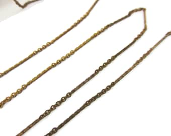 Vintage Brass Cable and Bar Chain, 10 Feet