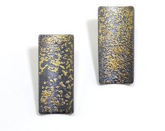 Cosmic Fused 22kt Gold and Oxidized Silver Rectangular Post Earrings