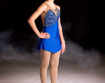 Skating dress blue royal strass preciosa