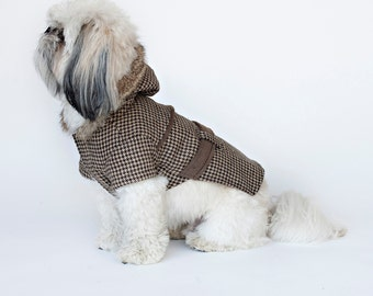Preston - Brown Plaid Dog Coat