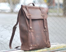 Genuine leather backpack. Model P006. 100% Hand-made.