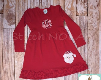 Santa Long Sleeved Red Ruffle Dress