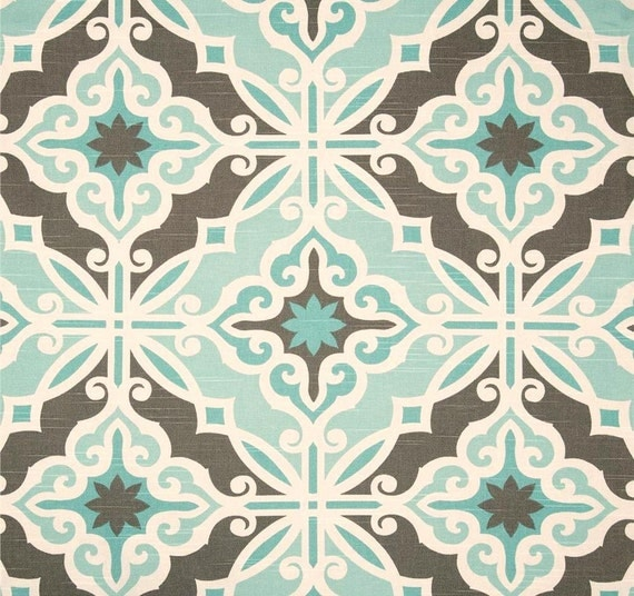Aqua Blue Brown Home Decor Fabric by the Yard by