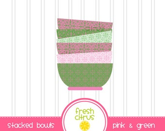 Stacked Bowls Clip Art