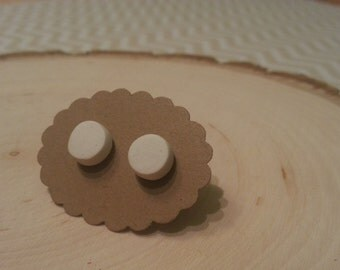 White- small circle polymer clay stud earring