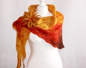 Cobweb Felted Scarf Wrap whit felt flower brooch Orange Brown Ochre Felt Shawl, merino, silk, art wrap, openwork, collar, OOAK, eco friendly