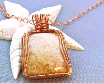 Copper Handwrapped Fossil Coral Necklace