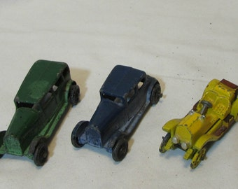 Vintage Metal Cars, Lot of Three, 1930's