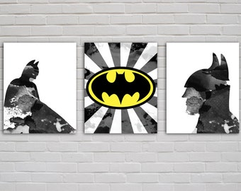 Batman Print Set | Superhero Prints | DC Comics | Grunge