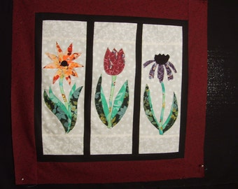 """Floral appliqué unfinished wall-hanging  top 24"""" X 25"""""""