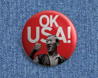 "Bloodsport OK USA 1 1/2"" inch pin back button"