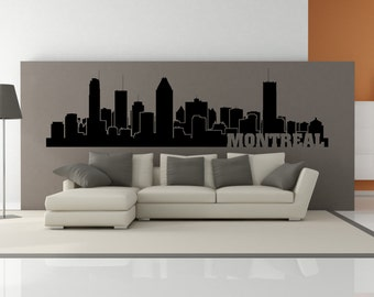 PREMIUM Montreal Quebec Canada City Skyline Interior Wall Decal WITH Lettering