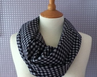 Black and white gingham and check scarf and snood