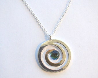 Birthstone Silver Swirl Necklace with Sterling Silver Chain
