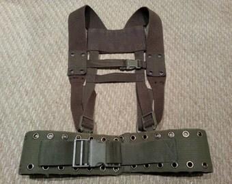 German BW Army load carrying webbing belt quick release buckle adjustable shoulder harness