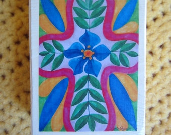 "Colorful Cross with Blue Flower - Print of an original watercolor painting on a cedar wood block (3 3/4""L x 5""H x 1 1/2"" W)"