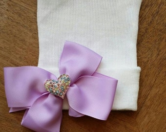 Newborn Hospital Hat! Only 1 LEFT!! EXCLUSIVE To This Shop! 1st Heart Rhinestone Keepsake on Lavender Ribbon.