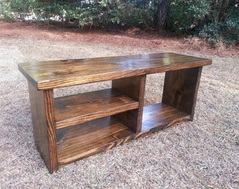 Wood Storage Bench - Rustic Boot Bench - Shoe Cubby Bench