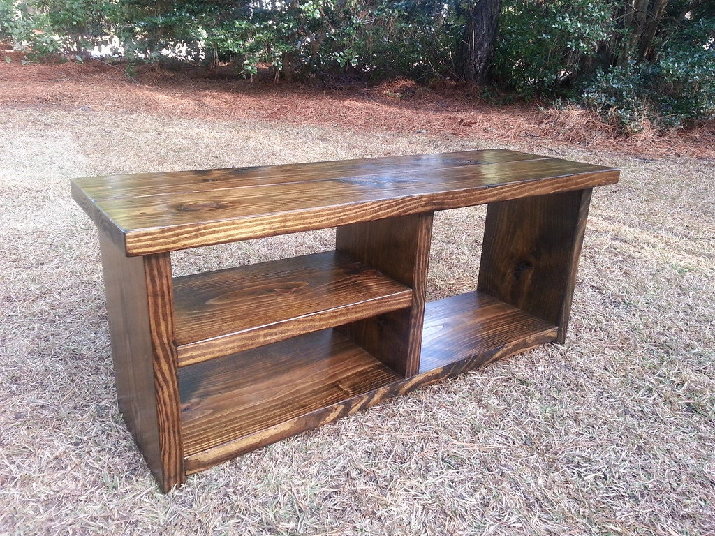 Wood Storage Bench Rustic Boot Bench Shoe Cubby Bench