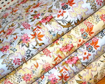 100% Cotton Vintage Look Fabric METRE FAT QUARTER floral English Garden Botanical Shabby chic duck egg blue craft quilting patchwork sewing