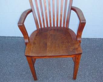 Antique Solid Walnut Office Chair 1900's/Sikes Co. 1902