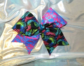 Neon and Lace Cheer Bow Hair Bow