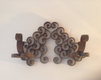 Rustic, Vintage French Coat and Hat Rack / Hooks, Wrought Iron Metal, Beautiful Unique Design, Circa 1930's!