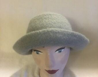 Womens wool felted lt blue hat