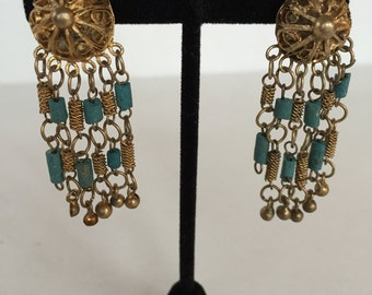 Vintage Brass Gold Filigree and Turquoise Chandelier Dangle Clip On Earrings