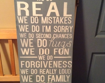 Family rules 'we do' wood sign