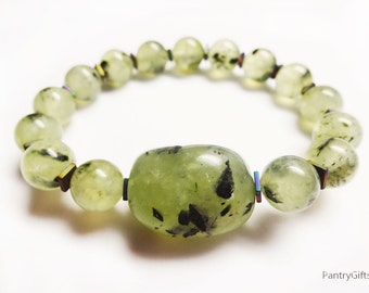 Translucent green Prehnite hematite powerful stretch Bracelet