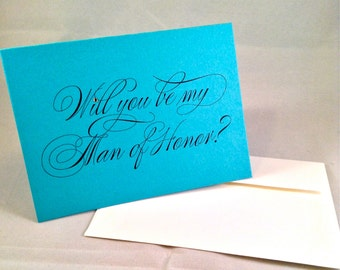 Will you be my Man of Honor?  folded note cards - wedding bridal party