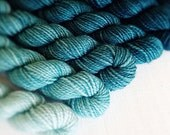 AQUATIC 240 yard mini-skein set, High Twist Sock, superwash, merino, fingering weight, sock yarn, gradient, ombre