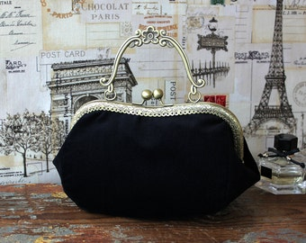 Evening black Bag Clutch - Black Velvet bag with clasp  - Bag - Black Velvet Clasp Bag - Wedding Pouch - Made To Order